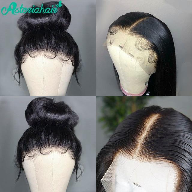 Asteria 13x6 koronkowa peruka z przodu PrePlucked brazylijski prosto koronkowa peruka z ludzkich włosów dla czarnych kobiet 180% 250% gęstość Remy peruka