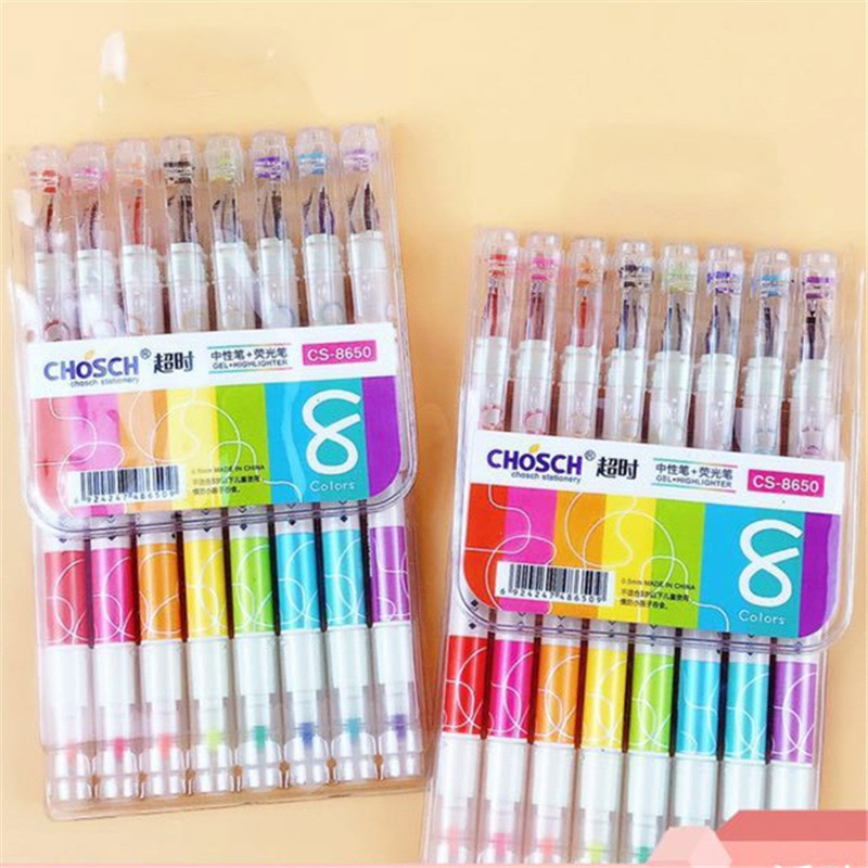 Kawaii 8 Colors Gel Pen Cute Double-headed Gel Pen And Highlighter Novelty Neutral Pen For Kid School Office Stationery Supplies