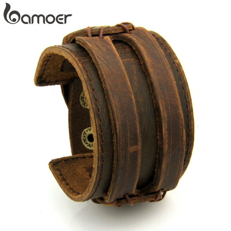 BAMOER Leather Cuff Double Wide Bracelet Rope Bangles Brown for Men Fashion Man Bracelet Unisex Jewelry Gift PI0296(China)