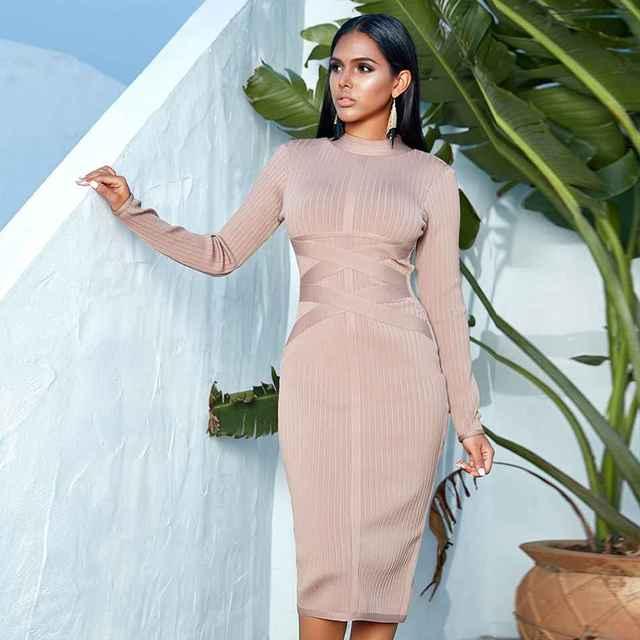 Фото seamyla новое зимнее облегающее бандажное платье 2021 с длинным цена
