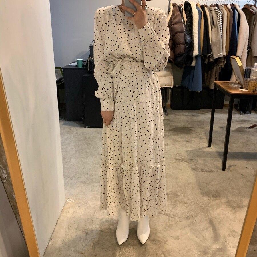 Женское весеннее платье в горошек с круглым воротником и высокой талией, длинное платье с длинным рукавом и оборками, приталенное платье со ...