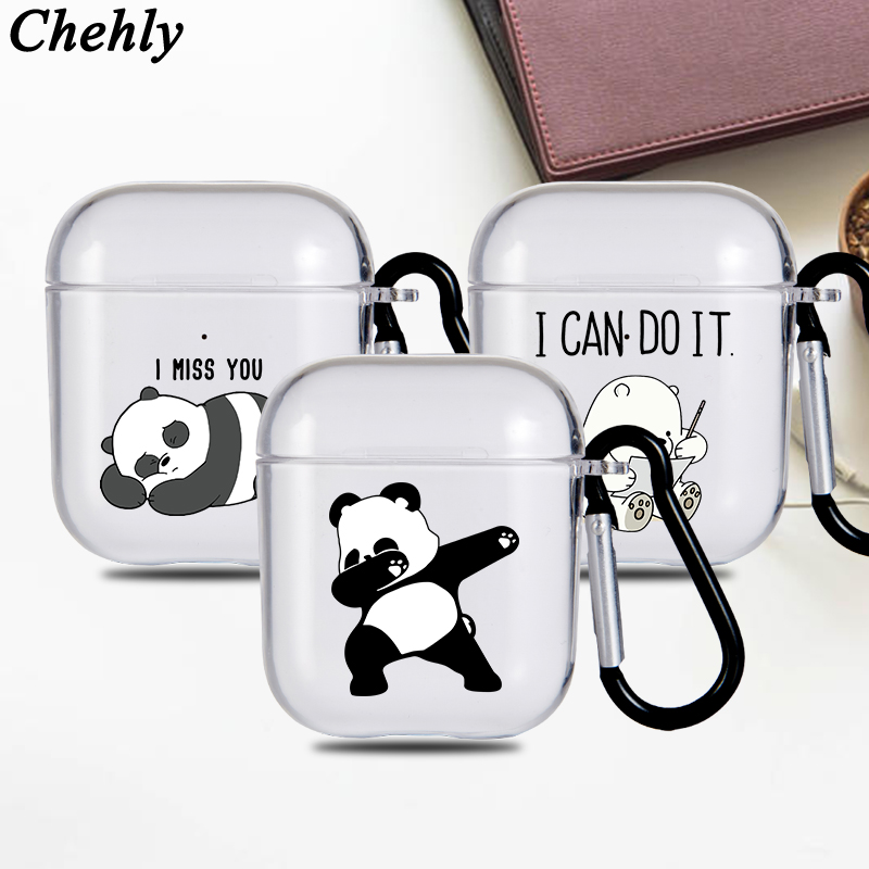 Funny Panda Solf Silicone Case for Airpods 1 2 Pro Shockproof Bluetooth Wireless Headphone Earphone Protective Cover Accessories
