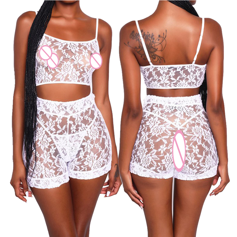 New Sexy Women Bodysuit Two-piece Black Lace Suit Lingerie Stripper Clothes Micro Bikini Underwear Nightwear Exotic Sex Apparel