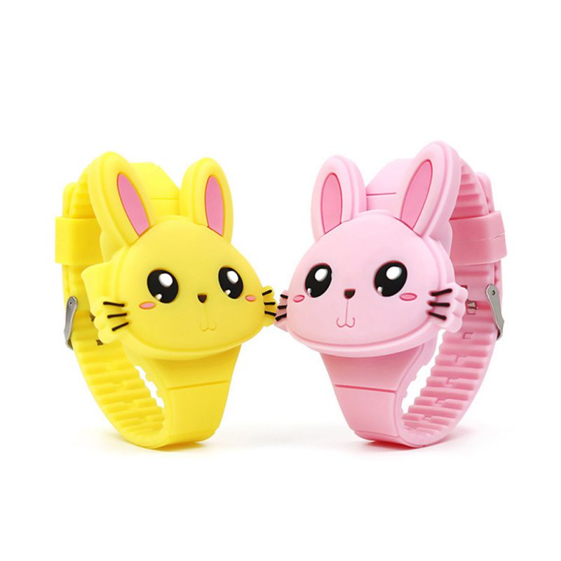 Lovely Rabbit Cartoon Children Led Light Wrist Watches Flip Cover Rubber Electronic Kids Watch For Boy Student Girls Clock