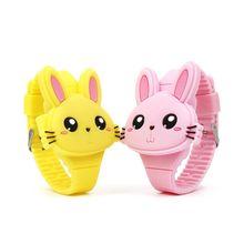 Lovely Rabbit Cartoon Children Led Light Wrist Watches Flip Cover Rubber Electro