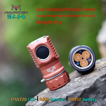 Amutorch E3S 3xSST20 LED 3000LM Bright 20350 EDC Flashlight with High Output Mini Torch,Ultra Solid and Compact