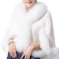 Winter Women Overcoat Faux Fur Jacket Mink Hair Collar Bolero Bridal Shawl Faux Fur Wrap Wedding Cape