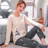 Hiver sommeil salon pyjama à manches longues haut + pantalon Long femme pyjama ensemble bande dessinée Pyjamas coton vêtements de nuit femmes M L XL XXL XXXL