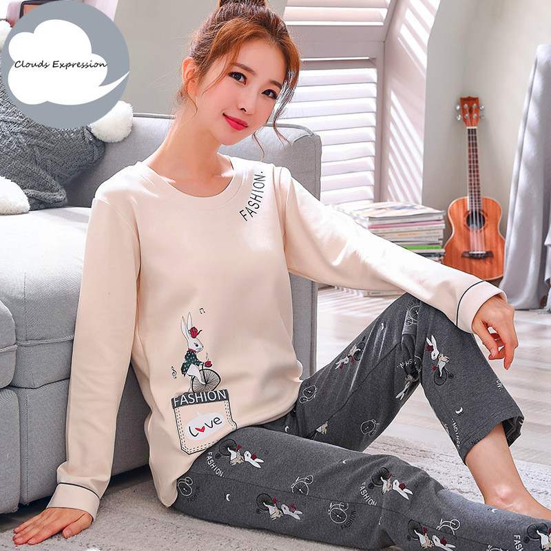 Winter Sleep Lounge   Pajama   Long Sleeve Top + Long Pant Woman   Pajama     Set   Cartoon Pyjamas Cotton Sleepwear Women M L XL XXL XXXL
