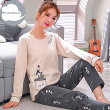 Winter Sleep Lounge Pajama Long Sleeve Top + Long Pant Woman Pajama