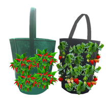 Get more info on the New Felt Hanging Pepper Strawberry Growing Bag Non-woven Bare Root Bonsai Plant Pot Multi-mouth Planting Container Garden Decor
