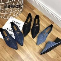 Wellwalk Shoes Women Loafers Ladies Moccasin Shoes Slip On Ballet Flats Pointed Toe Ballerinas Flats Ladies Winter Denim Shoe