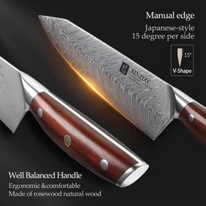 Image 4 - Xinzuo 5 個ナイフセット vg10 ダマスカス鋼包丁セットステンレス鋼包丁シェフユーティリティ果物ナイフローズウッドハンドル