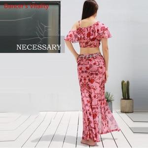 Image 2 - קיץ הגעה חדשה בגדי ביצועים בטן ריקוד שמלת נשים של 2 חתיכה להראות (קצר שרוול חולצה חצאית סדק חצאית) ורוד