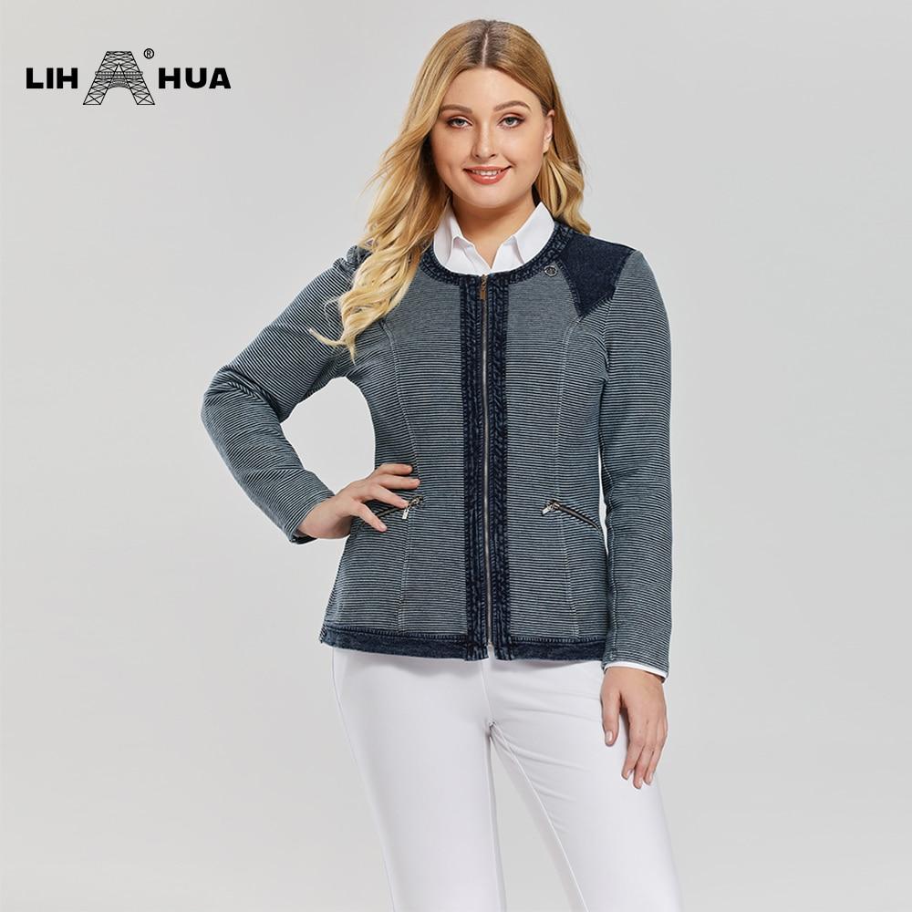 LIH HUA Women's Plus Size Casual Fashion Denim Jacket Premium Stretch Knitted Denim With Shoulder Pads