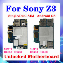 100% Original für Sony Xperia Z3 D6603 Motherboard,16gb für Sony Z3 D6653 D6633 D6683 Logic Board mit Android System