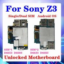 Placa base 100% Original para Sony Xperia Z3 D6603, 16gb para Sony Z3 D6653 D6633 D6683 placa lógica con sistema Android