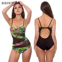 New Mesh Patchwork Swimsuit Women One Piece Leaves Print Monokini M-3XL Girl Backless Bathing Suit Bikini Set