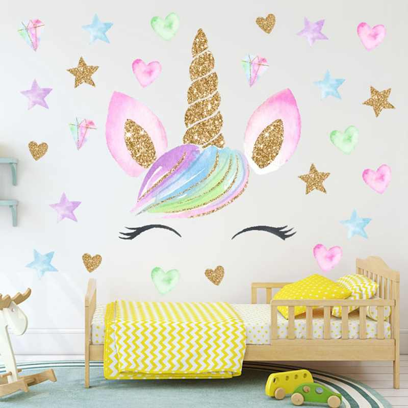 Bunte Blume Tier Einhorn Wand Aufkleber 3D Kunst Aufkleber Aufkleber Kind Kindergarten Wand Dekoration Wohnkultur
