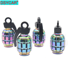 DSYCAR 4pcs/lot Universal Metal Multicolour Grenade Design Valve Caps Car styling Car Motorcycle Bike Tire tyre valve dust caps цена