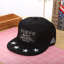 Baseball Caps Embroidery Patch NUEVO Flat Along Hip Hop Hat Korean Embroidery Five Pointed Star Hip-hop Hat Snapback Cap Unisex fashion five pointed star shape embroidery camouflage pattern baseball cap for men