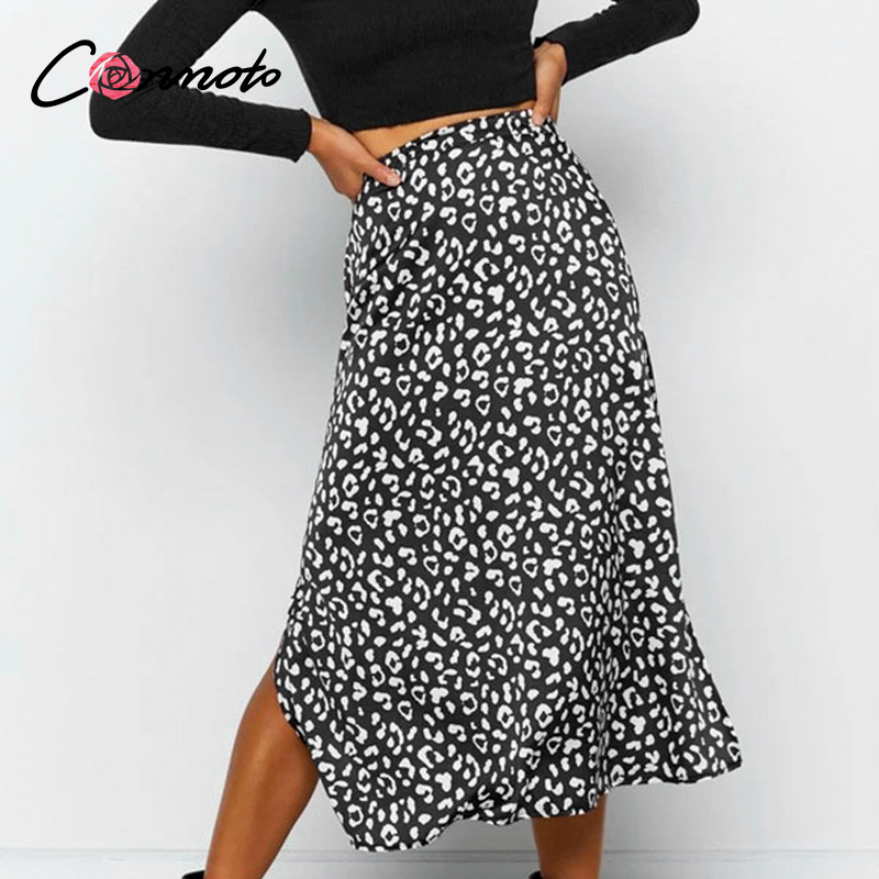 Conmoto Leopard Print Summer 2020 Casual Midi Skirt Women High Waist Slit Sexy Skirts Ladies Plus Size High Fashion Skirt