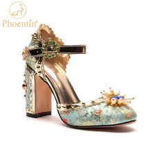Party-Shoes Phoentin High-Heels Bridal Embroidered Green Mary Janes Luxurious Women Crystal