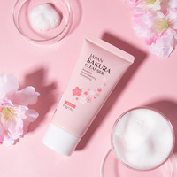 LAlKOU Japan Sakura Facial Cleanser Shrink Pores Deep Oil Control Remove Blackhead Mild Non-Irritating Moisturizing Cleanser 50g 6