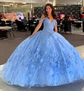 Высококачественное платье на заказ, vestido de 15 años 2020, светильник небесно-голубого цвета, Пышное Платье 16, кружевное платье с аппликацией, vestidos ...