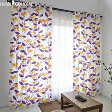 Floral Boho Curtains for Double Room Decoration Purple Sheer Tulle Living Modern Chiffon Voile Kitchen Curtain