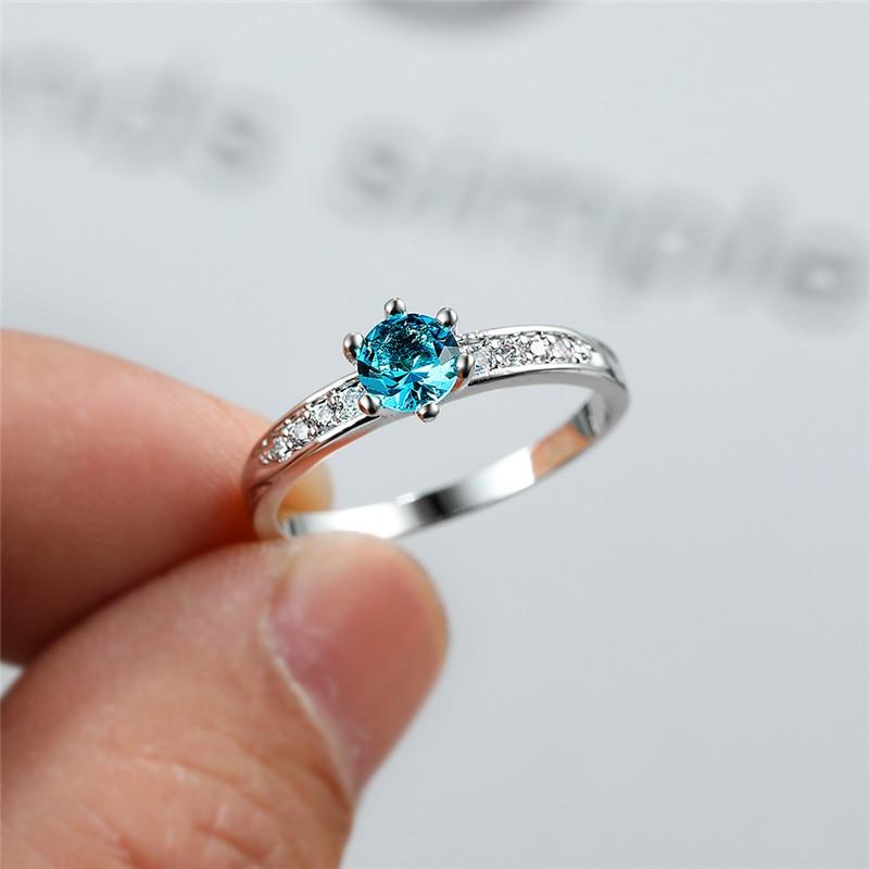 Роскошный женский светильник кольцо с голубым Цирконом классический серебристый цвет тонкие обручальные кольца для женщин Изящные Криста...