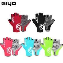 Giyo luvas sem dedos para ciclismo, luva de tecido lycra antiderrapante para corrida e bicicleta de estrada