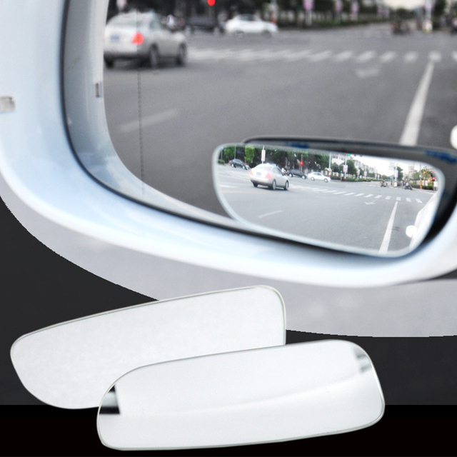 2Pcs Car Arc Wide angle Rearview Mirror Clear Slim Blind Spot Reversing Glass Convex Rear View Mirror Parking Mirror for SUV Car