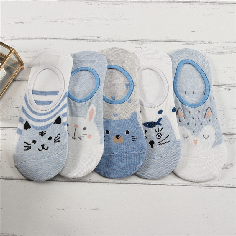 27 Style 10 Piece=5 Pairs/Lot Cute Harajuku Animal Women Socks Set Funny Spring Cat Dog Rabbit Panda Low Cut Short Sock Happy 6
