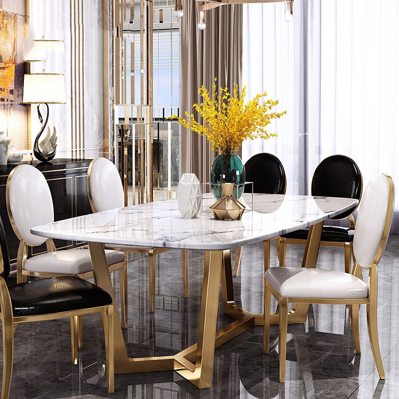 Скандинавский мраморный обеденный стол в Гонконге стиль постсовременная Мебель Легкий роскошный дом из нержавеющей стали Прямоугольный Обеденный Стол