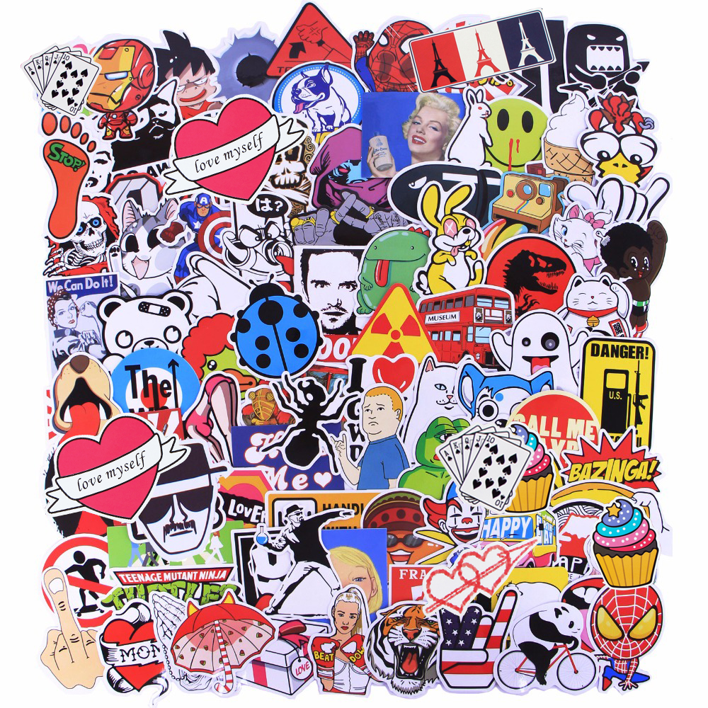 Image 3 - Random 1000 Pcs JDM Stickers Funny Cartoon DIY Cool Sticker For Car Laptop Skateboard Motorcycle Furniture Decal Not Repeat Toys-in Stickers from Toys & Hobbies