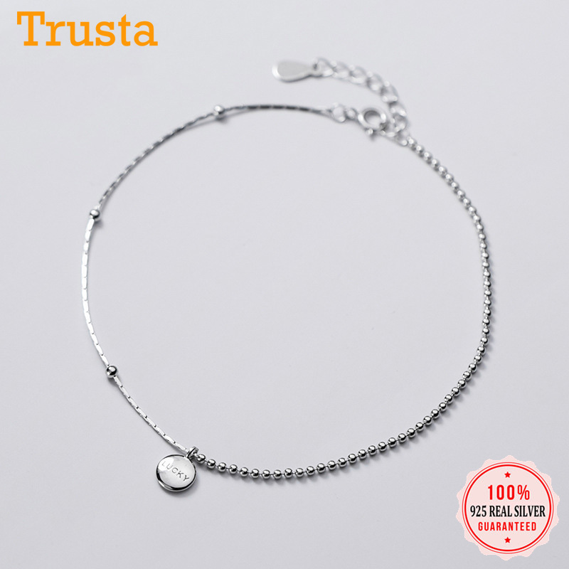 Trustdavis Minimalist 925 Sterling Silver Fashion Luck Beads Chain Anklets For Women Valentine's Day Birthday Gift Jewelry D1147