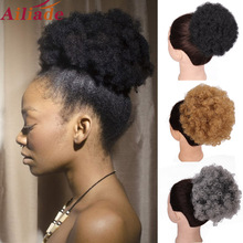 Curly Chignon Ponytail Drawstring Bun Hair-Extensions Updo Ailiade-Puff Afro Synthetic-Hair