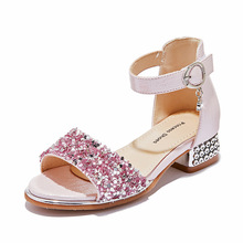 2019 New Crystal Sandals Girls Shiny Summer Shoes Children Beach for Princess Kids Flat Size 26-36