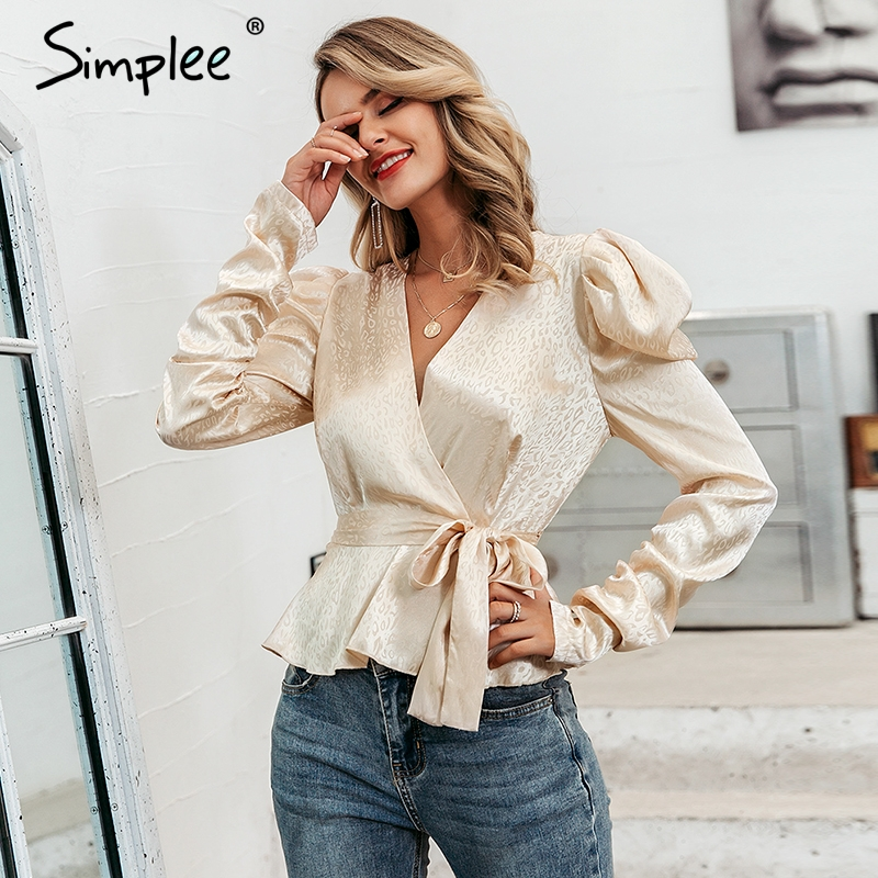 Simplee Sexy Printed Puff Sleeve Women Blouse V Neck Sash Belt Female Blouses Shirts Autumn Winter Party Club Ladies Tops Blusa