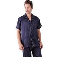 High grade 100% Natural Silk Men Pajamas Short Sleeved Pants Suit Sleepwear Men's Real Silk Pyjama Set Nightwear Home Clothing