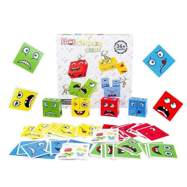 חדש מונטסורי ביטוי פאזל פנים שינוי קוביית אבני בניין צעצועי למידה מוקדמת חינוכי משחק צעצוע לילדים מתנה 4