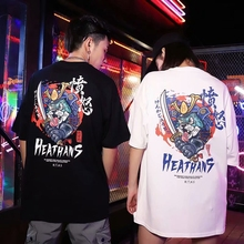 2020 Hip Hop T-Shirt Men Ghost Chinese Charater Print Haraju