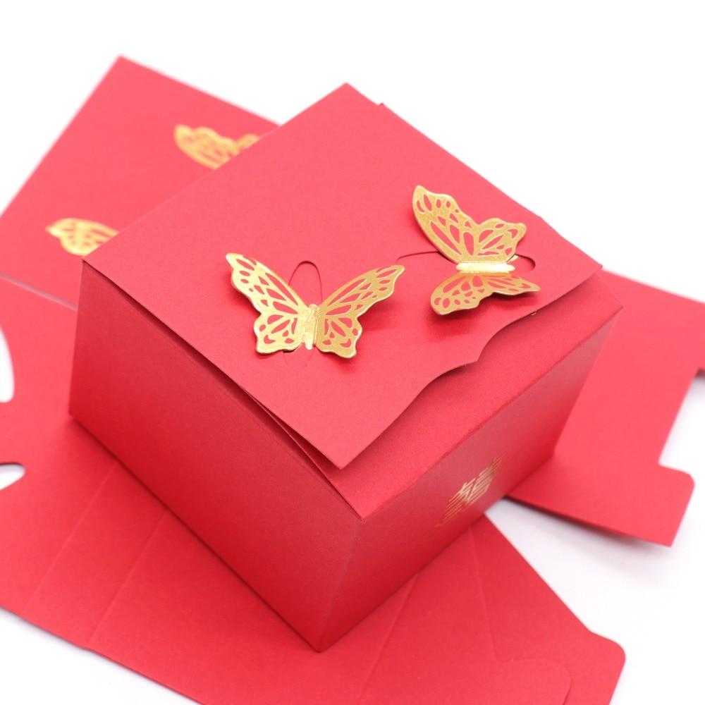 50 pcs/lot décoration de mariage boîte à bonbons papillon boîte de papier rouge boîte de cadeau de mariage maison fête boîte à bonbons paquet cadeau