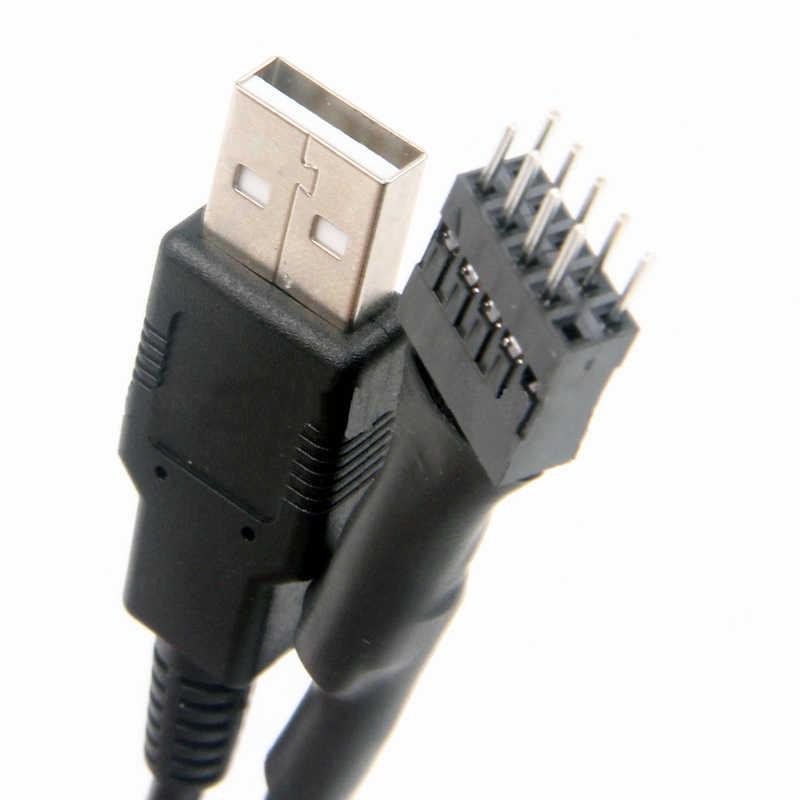 Nowy 20cm 9 pin męski na zewnętrzne USB A męski płyta główna komputera wewnętrznego kabel przedłużający dane