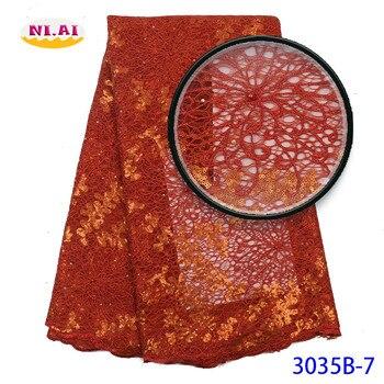 Organza Bordada Burnt Orange, Latest Organza Laces 2019, Women Dress Organza Tissu Dentelle MR3035B фото