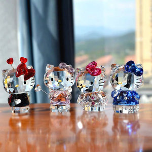 Image 3 - High Quality Crystal Cartoon Cat Figurines Car Ornament  Cat Aniaml Paperweight Wedding Gift Multicolor Interior,Lady Favor Gift