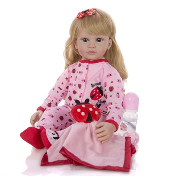 60 cm lovely reborn toddler girl Silicone Soft Vinyl  Baby Doll Lifelike Princess Doll With Blond Hair Girls bonecas reborn gift