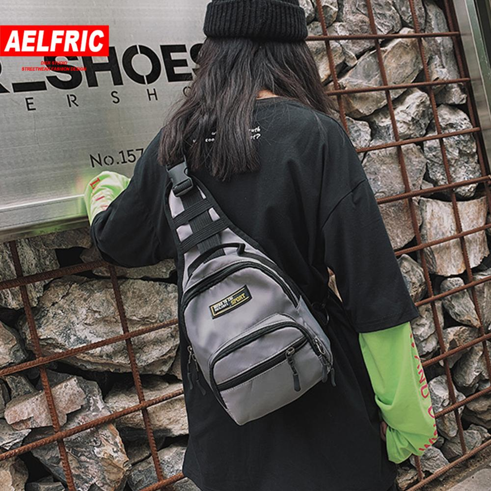 AELFRIC Street Shoulder Military Backpack Mens 2019 Fashion Solid Tactical Shoulder Bags Outdoor Hip Hop Fanny Packs Chest Bag