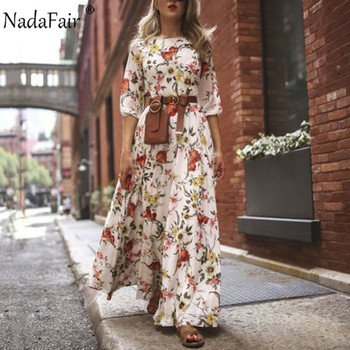 Nadafair Boho Floral Maxi Dress Woman Plus Size High Waist O Neck Printed Elegant Summer Beach Long Dresses Female Vestidos 2